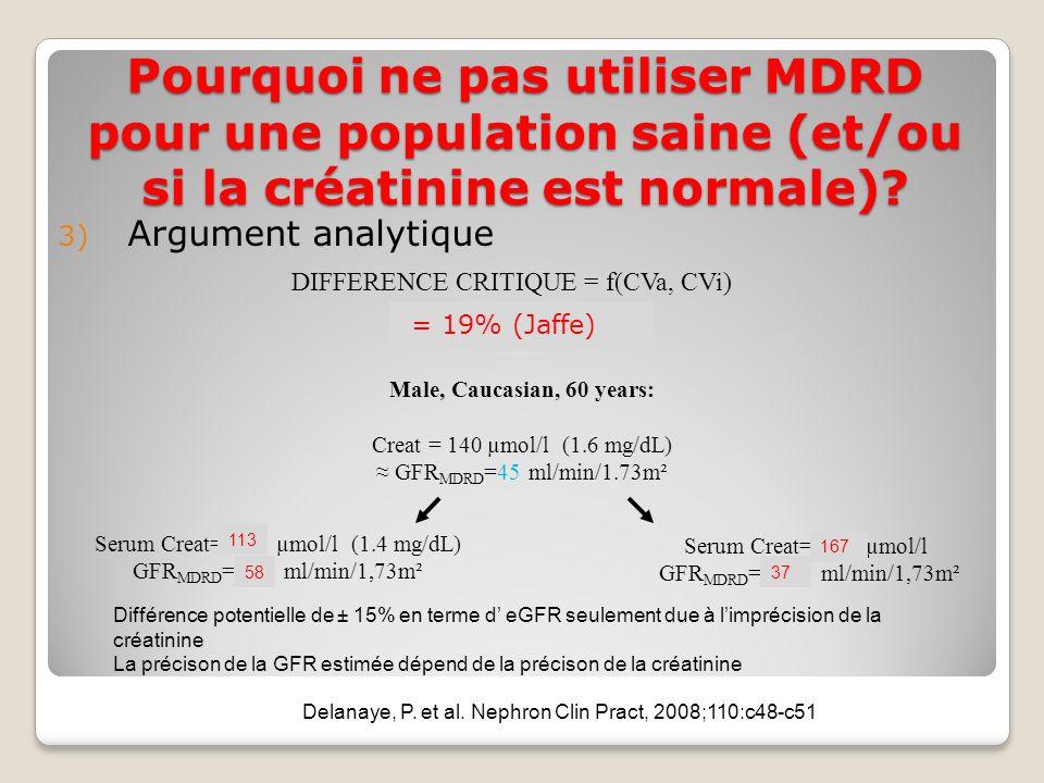 DIFFERENCE CRITIQUE = f(CVa, CVi) = 13% (enzymatic) Male, Caucasian, 60 years: Creat = 140 µmol/l (1.6 mg/dL) GFR MDRD =45 ml/min/1.73m² Serum Creat= 122 µmol/l (1.4 mg/dL) GFR MDRD = 53 ml/min/1,73m² Serum Creat= 158 µmol/l GFR MDRD = 39 ml/min/1,73m² Différence potentielle de ± 15% en terme d eGFR seulement due à limprécision de la créatinine La précison de la GFR estimée dépend de la précison de la créatinine Delanaye, P.