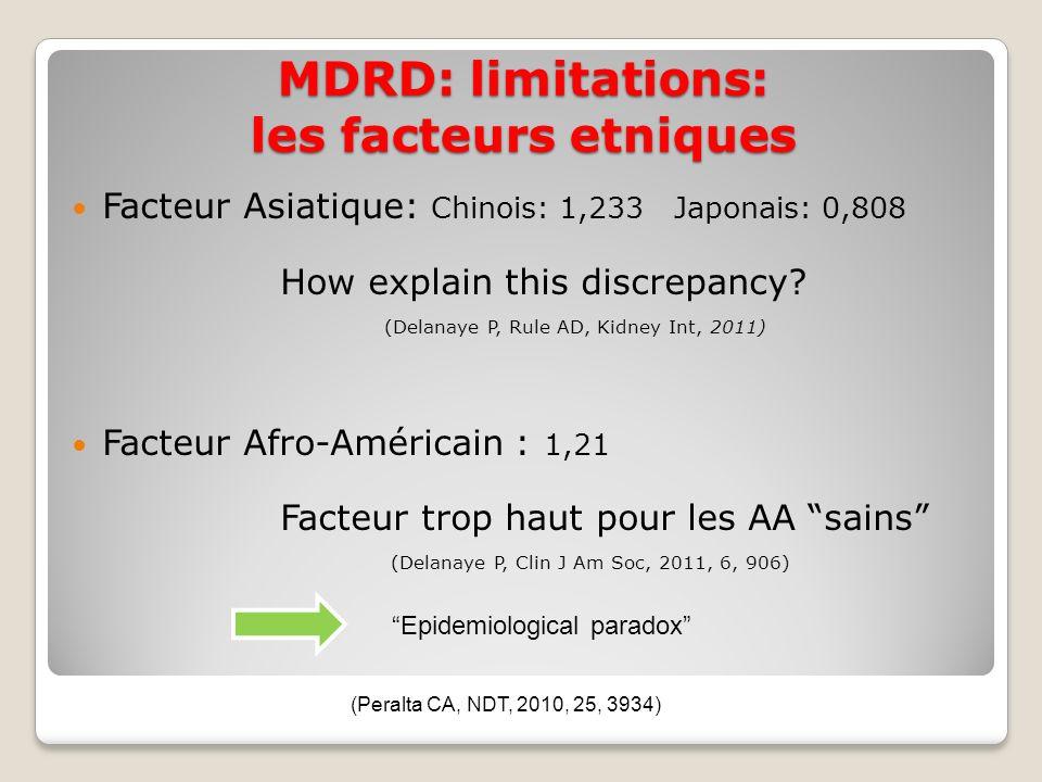 MDRD: limitations: les facteurs etniques Facteur Asiatique: Chinois: 1,233 Japonais: 0,808 How explain this discrepancy.