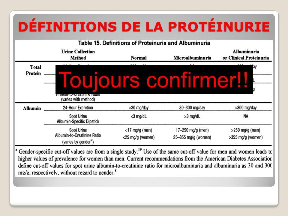 DÉFINITIONS DE LA PROTÉINURIE Toujours confirmer!!
