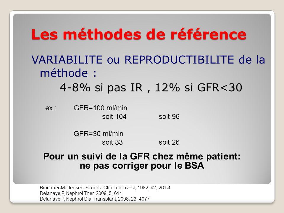 Les méthodes de référence VARIABILITE ou REPRODUCTIBILITE de la méthode : 4-8% si pas IR, 12% si GFR<30 Brochner-Mortensen, Scand J Clin Lab Invest, 1982, 42, 261-4 Delanaye P, Nephrol Ther, 2009, 5, 614 Delanaye P, Nephrol Dial Transplant, 2008, 23, 4077 ex :GFR=100 ml/min soit 104 soit 96 GFR=30 ml/min soit 33 soit 26 Pour un suivi de la GFR chez même patient: ne pas corriger pour le BSA