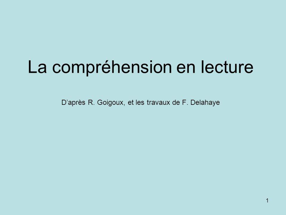 1 La compréhension en lecture Daprès R. Goigoux, et les travaux de F. Delahaye