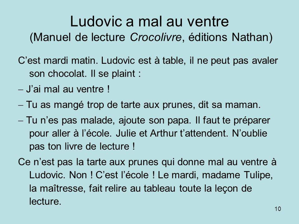 10 Ludovic a mal au ventre (Manuel de lecture Crocolivre, éditions Nathan) Cest mardi matin. Ludovic est à table, il ne peut pas avaler son chocolat.
