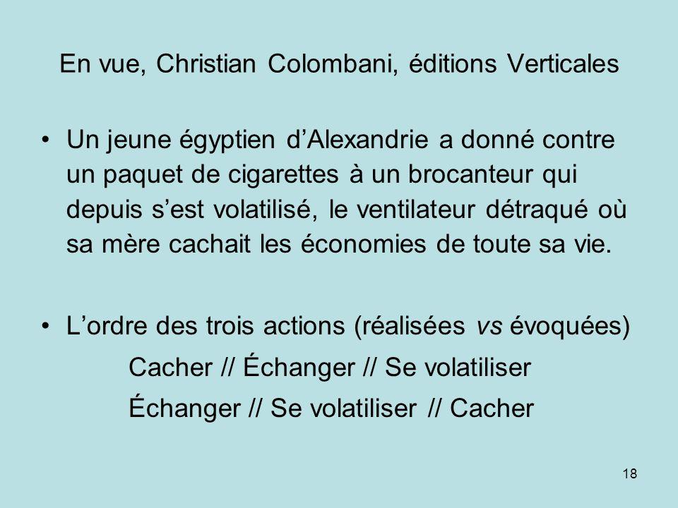 18 En vue, Christian Colombani, éditions Verticales Un jeune égyptien dAlexandrie a donné contre un paquet de cigarettes à un brocanteur qui depuis se