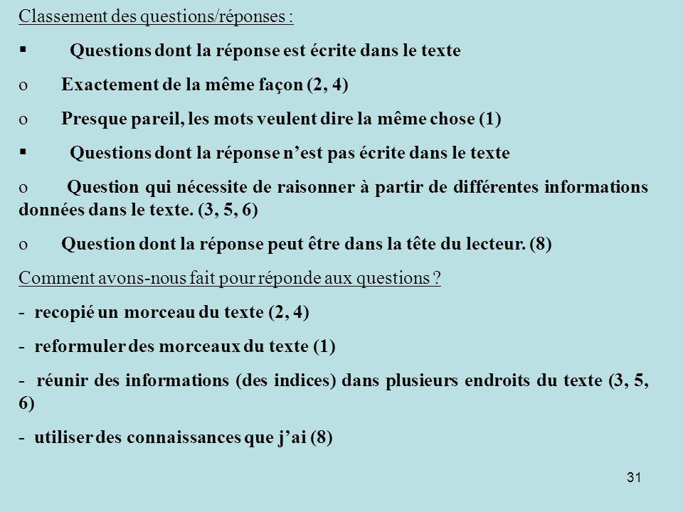31 Classement des questions/réponses : § Questions dont la réponse est écrite dans le texte o Exactement de la même façon (2, 4) o Presque pareil, les