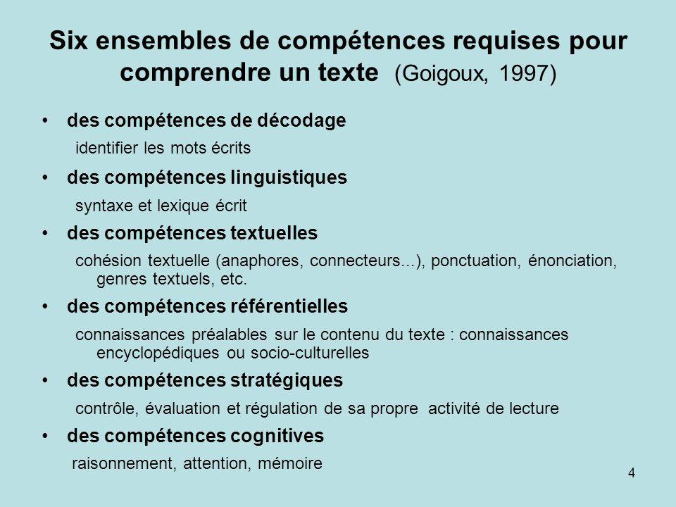 4 Six ensembles de compétences requises pour comprendre un texte (Goigoux, 1997) des compétences de décodage identifier les mots écrits des compétence