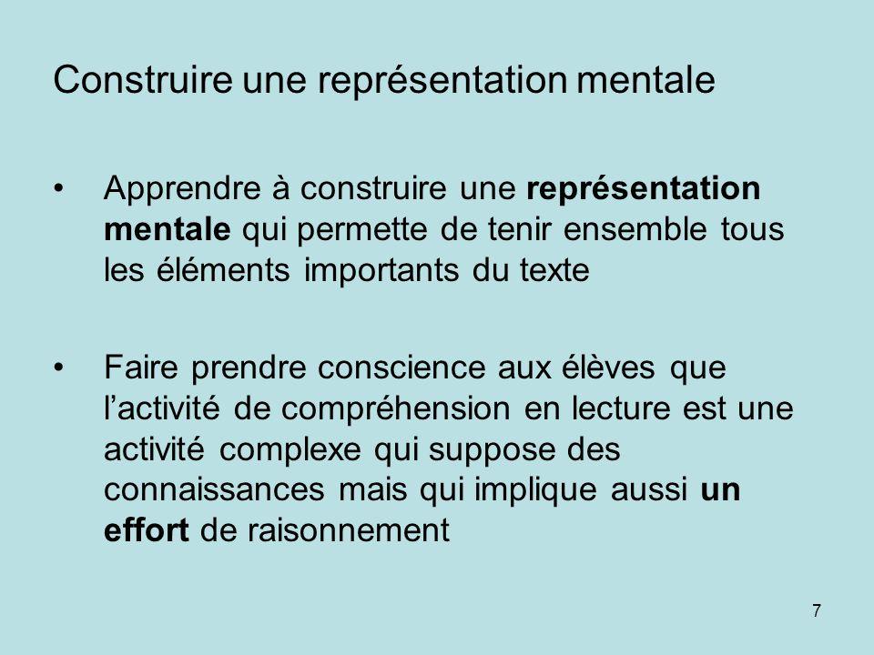 7 Construire une représentation mentale Apprendre à construire une représentation mentale qui permette de tenir ensemble tous les éléments importants