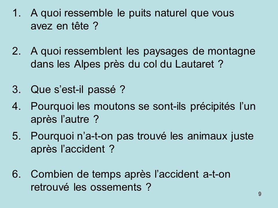 9 1.A quoi ressemble le puits naturel que vous avez en tête ? 2.A quoi ressemblent les paysages de montagne dans les Alpes près du col du Lautaret ? 3
