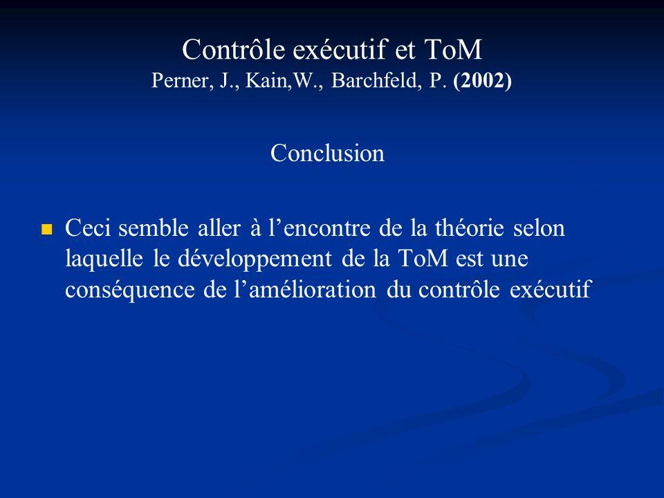 Contrôle exécutif et ToM Perner, J., Kain,W., Barchfeld, P. (2002) Conclusion Ceci semble aller à lencontre de la théorie selon laquelle le développem