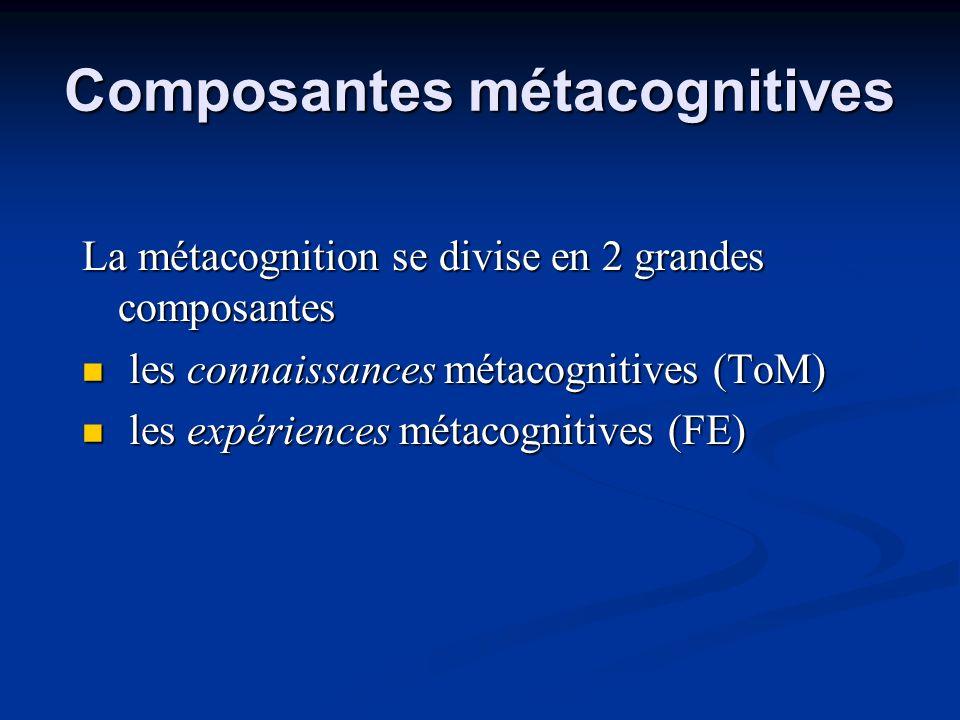 Composantes métacognitives La métacognition se divise en 2 grandes composantes les connaissances métacognitives (ToM) les connaissances métacognitives