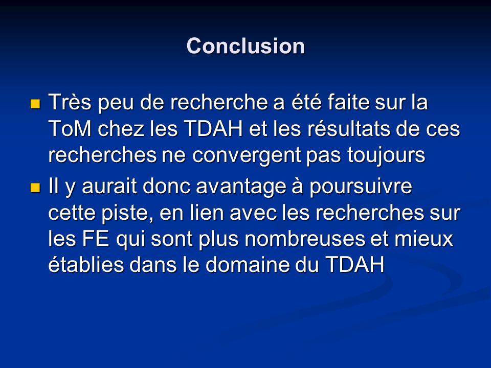 Conclusion Très peu de recherche a été faite sur la ToM chez les TDAH et les résultats de ces recherches ne convergent pas toujours Très peu de recher