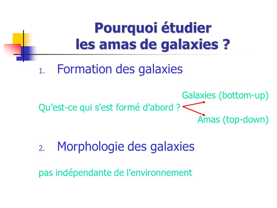 Pourquoi étudier les amas de galaxies ? 1. Formation des galaxies Galaxies (bottom-up) Quest-ce qui sest formé dabord ? Amas (top-down) 2. Morphologie