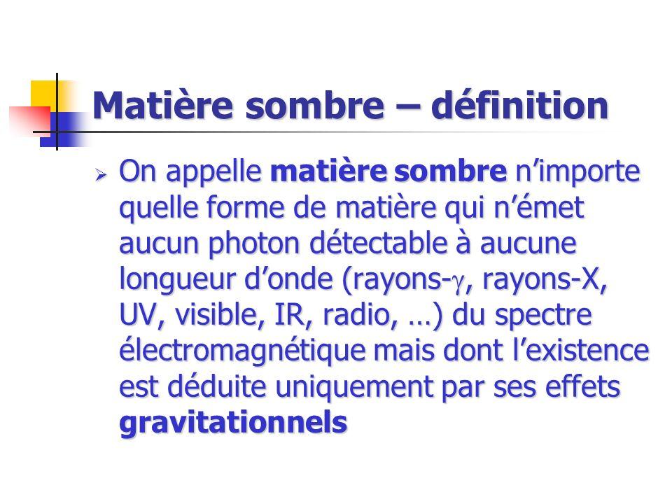 Matière sombre – définition On appelle matière sombre nimporte quelle forme de matière qui német aucun photon détectable à aucune longueur donde (rayo