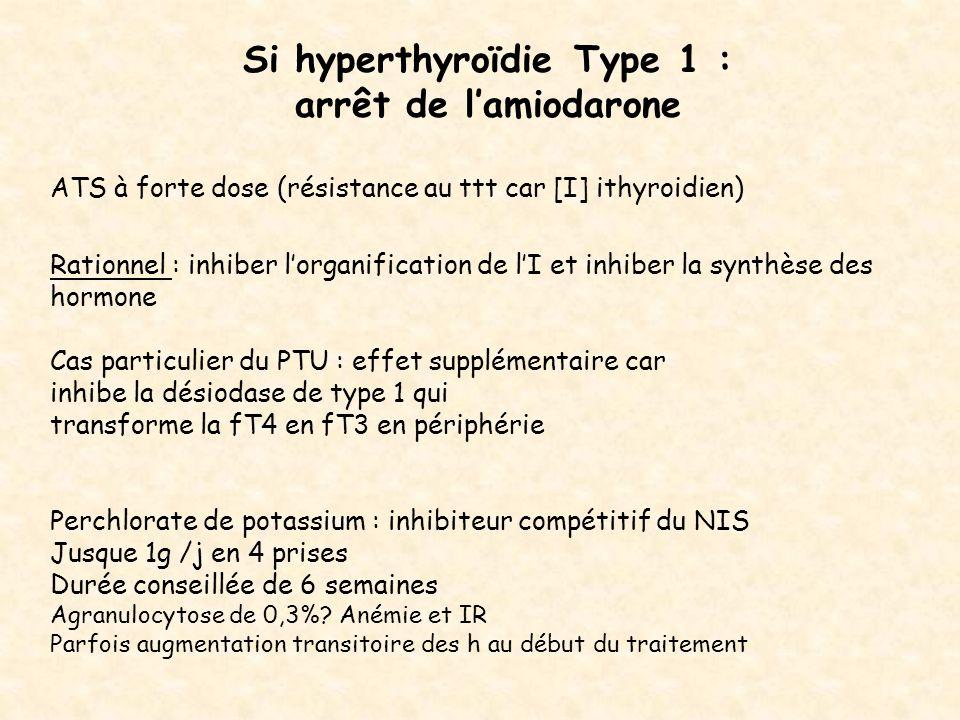 Si hyperthyroïdie Type 1 : arrêt de lamiodarone ATS à forte dose (résistance au ttt car [I] ithyroidien) Rationnel : inhiber lorganification de lI et
