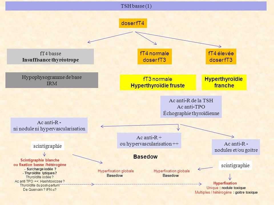 TSH basse (1) fT4 basse Insuffisance thyréotrope fT4 normale doser fT3 doser fT4 fT4 élevée doser fT3 Hypophysogramme de base IRM fT3 normale Hyperthy