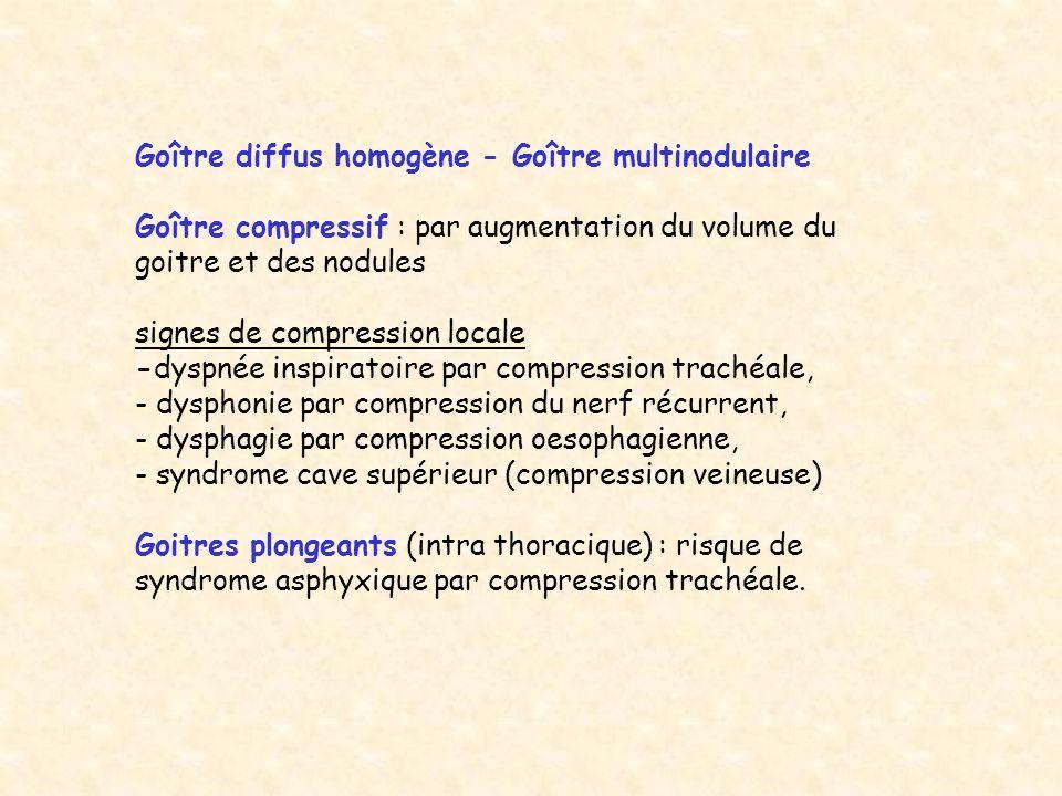 Goître diffus homogène - Goître multinodulaire Goître compressif : par augmentation du volume du goitre et des nodules signes de compression locale -d