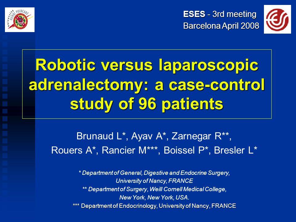 Robotic versus laparoscopic adrenalectomy: a case-control study of 96 patients Brunaud L*, Ayav A*, Zarnegar R**, Rouers A*, Rancier M***, Boissel P*,