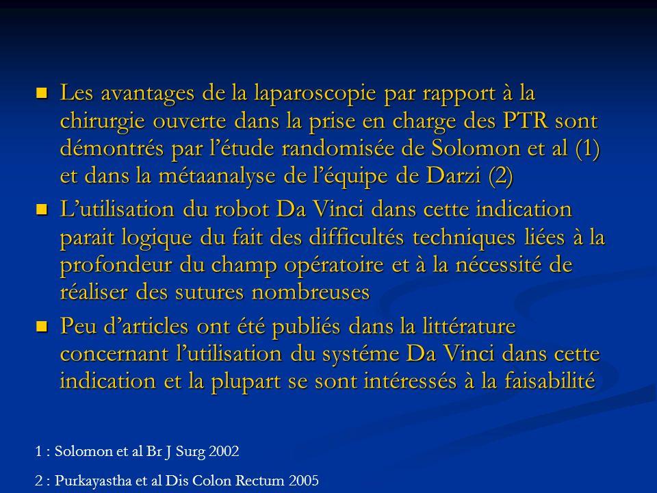 Les avantages de la laparoscopie par rapport à la chirurgie ouverte dans la prise en charge des PTR sont démontrés par létude randomisée de Solomon et