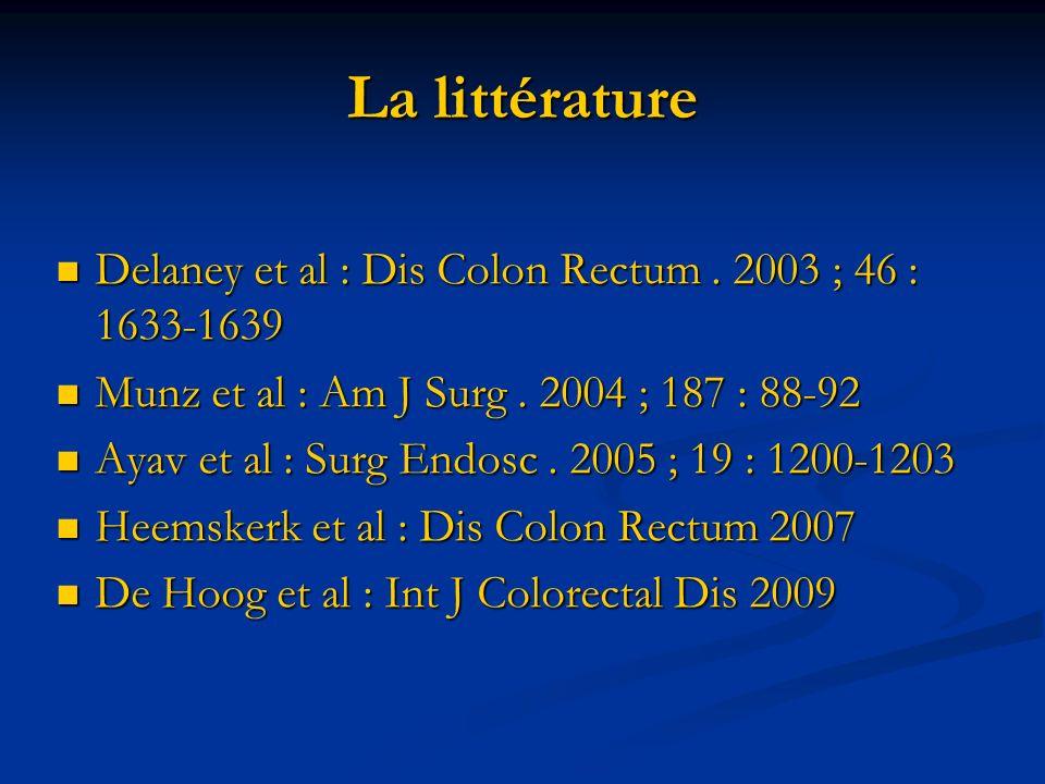 La littérature Delaney et al : Dis Colon Rectum. 2003 ; 46 : 1633-1639 Delaney et al : Dis Colon Rectum. 2003 ; 46 : 1633-1639 Munz et al : Am J Surg.