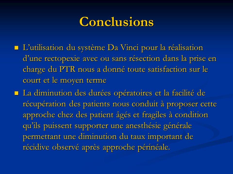 Conclusions Lutilisation du système Da Vinci pour la réalisation dune rectopexie avec ou sans résection dans la prise en charge du PTR nous a donné to