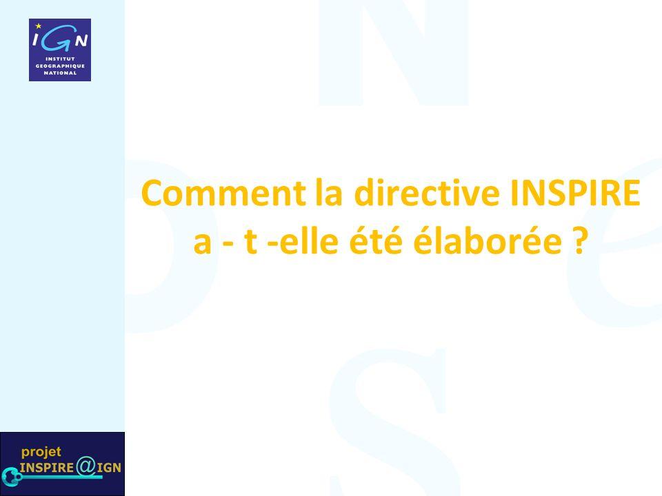 Comment la directive INSPIRE a - t -elle été élaborée