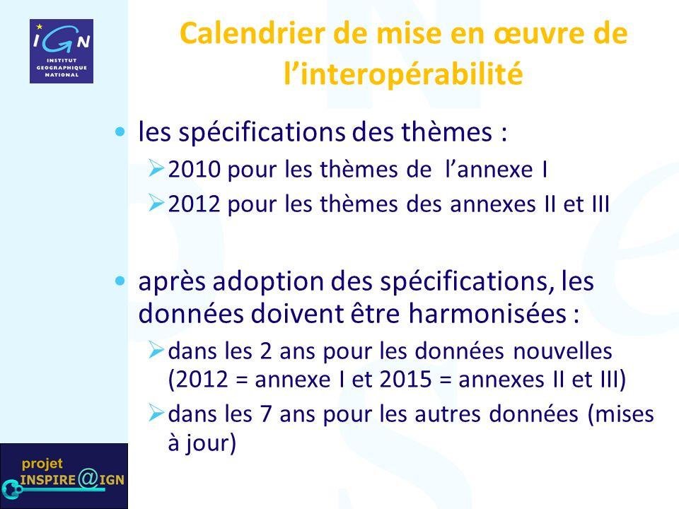 Calendrier de mise en œuvre de linteropérabilité les spécifications des thèmes : 2010 pour les thèmes de lannexe I 2012 pour les thèmes des annexes II et III après adoption des spécifications, les données doivent être harmonisées : dans les 2 ans pour les données nouvelles (2012 = annexe I et 2015 = annexes II et III) dans les 7 ans pour les autres données (mises à jour)