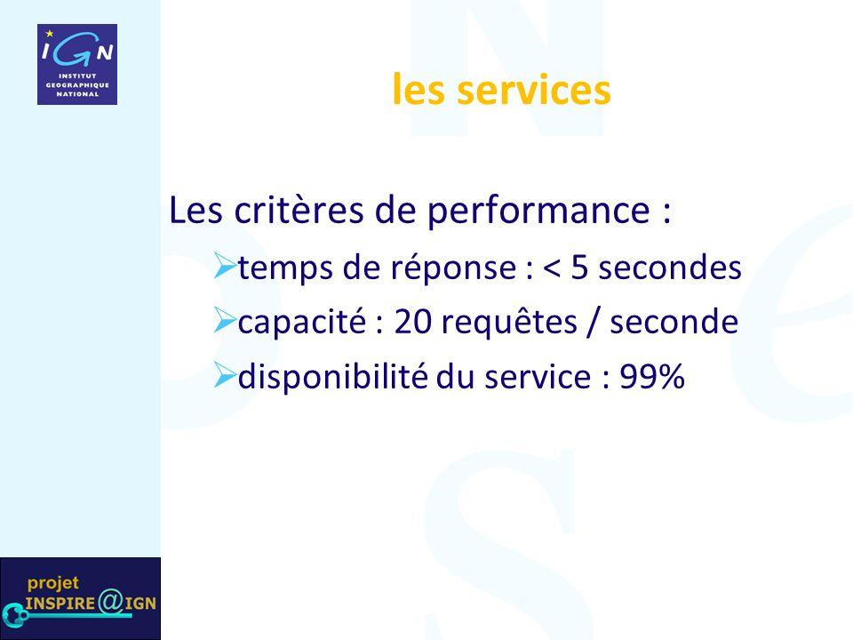 les services Les critères de performance : temps de réponse : < 5 secondes capacité : 20 requêtes / seconde disponibilité du service : 99%