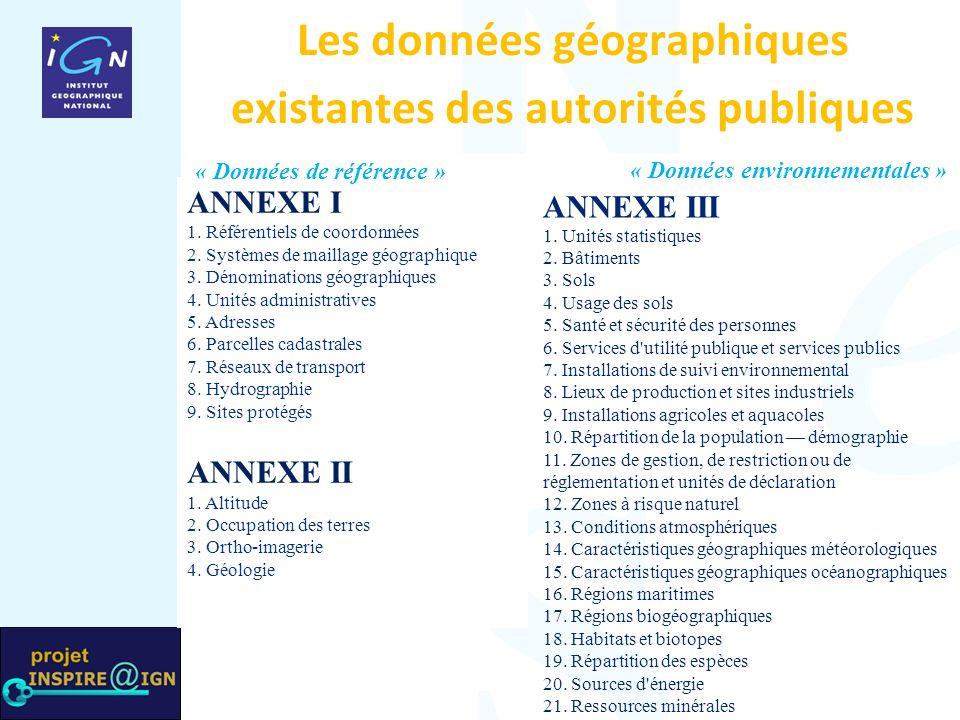 Les données géographiques existantes des autorités publiques ANNEXE III 1.
