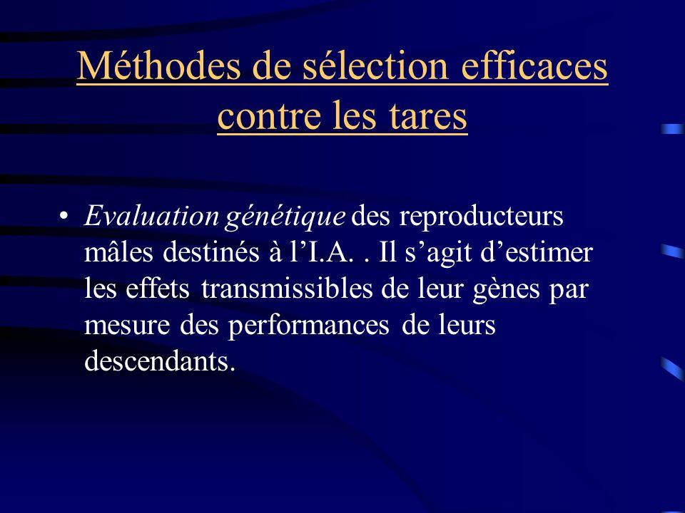 Méthodes de sélection efficaces contre les tares Evaluation génétique des reproducteurs mâles destinés à lI.A.. Il sagit destimer les effets transmiss