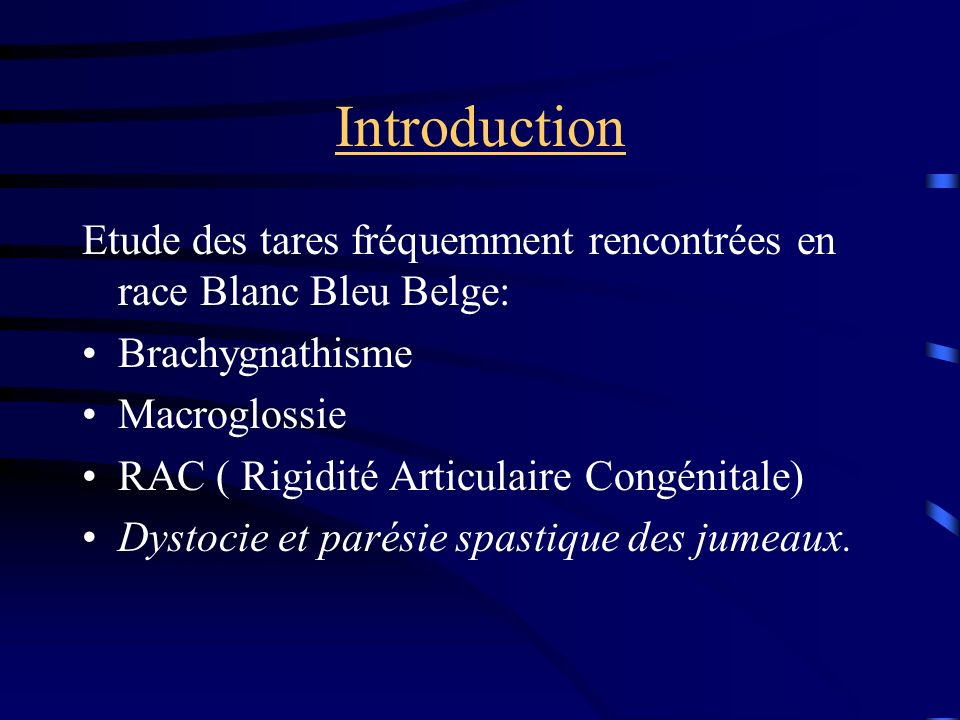 Introduction Etude des tares fréquemment rencontrées en race Blanc Bleu Belge: Brachygnathisme Macroglossie RAC ( Rigidité Articulaire Congénitale) Dy