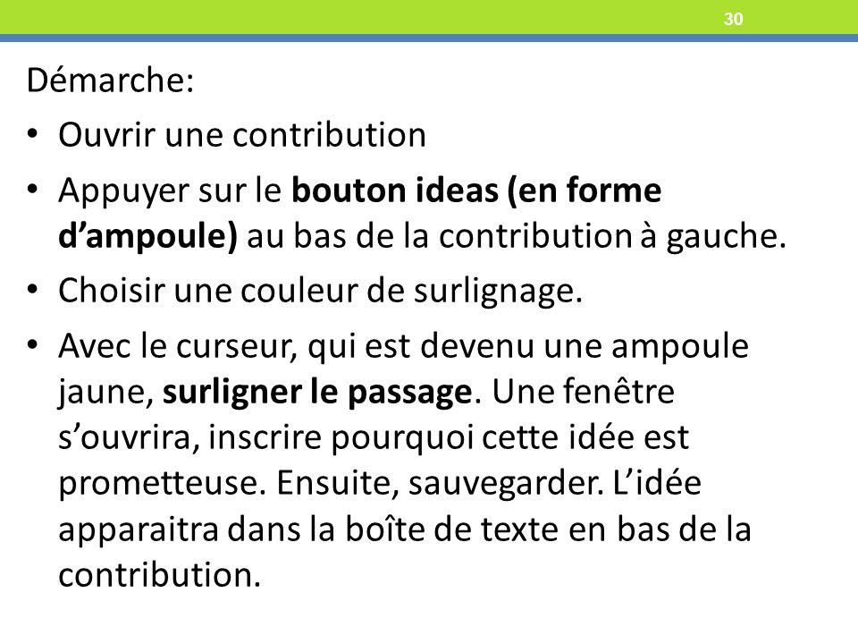 30 Démarche: Ouvrir une contribution Appuyer sur le bouton ideas (en forme dampoule) au bas de la contribution à gauche.