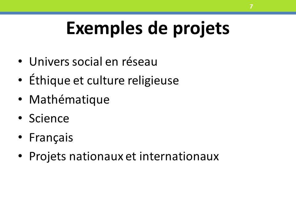 7 Univers social en réseau Éthique et culture religieuse Mathématique Science Français Projets nationaux et internationaux Exemples de projets