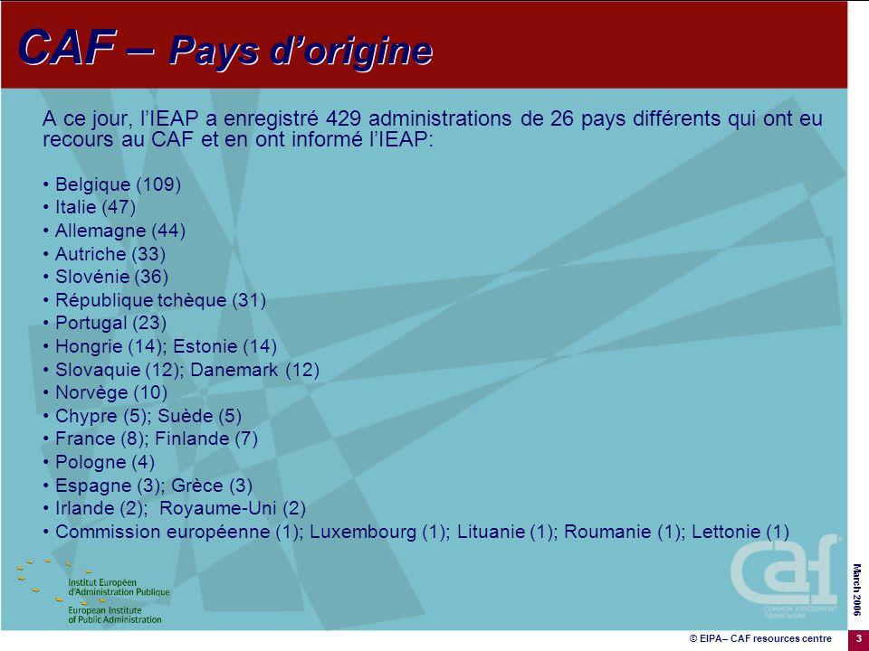 © EIPA– CAF resources centre March 2006 3 A ce jour, lIEAP a enregistré 429 administrations de 26 pays différents qui ont eu recours au CAF et en ont informé lIEAP: Belgique (109) Italie (47) Allemagne (44) Autriche (33) Slovénie (36) République tchèque (31) Portugal (23) Hongrie (14); Estonie (14) Slovaquie (12); Danemark (12) Norvège (10) Chypre (5); Suède (5) France (8); Finlande (7) Pologne (4) Espagne (3); Grèce (3) Irlande (2); Royaume-Uni (2) Commission européenne (1); Luxembourg (1); Lituanie (1); Roumanie (1); Lettonie (1) CAF – Pays dorigine