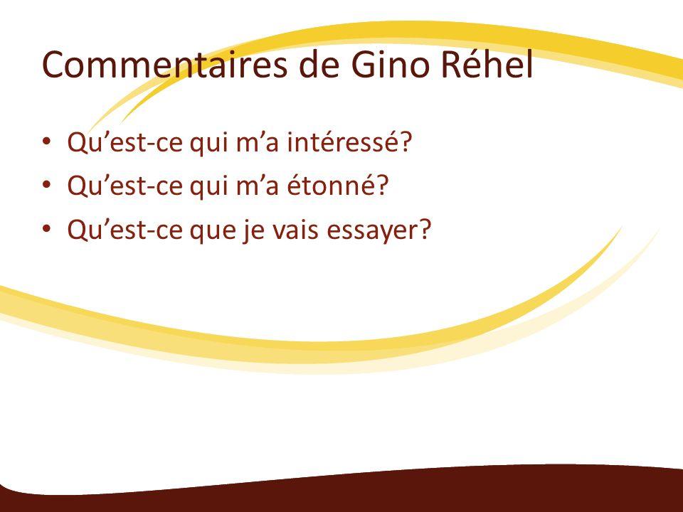 Commentaires de Gino Réhel Quest-ce qui ma intéressé? Quest-ce qui ma étonné? Quest-ce que je vais essayer?