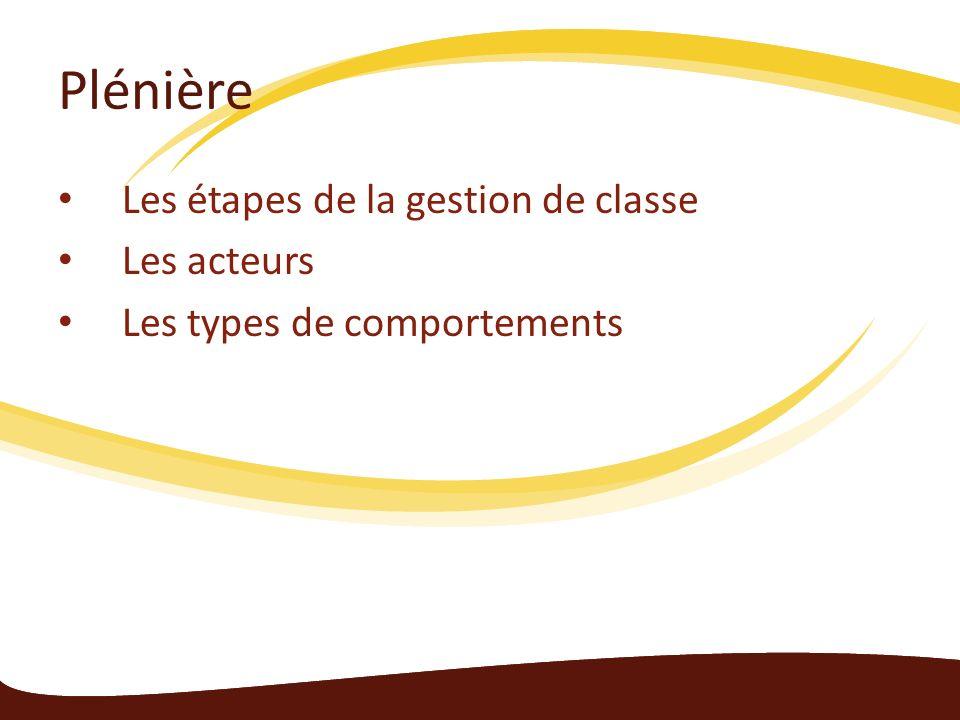 Plénière Les étapes de la gestion de classe Les acteurs Les types de comportements