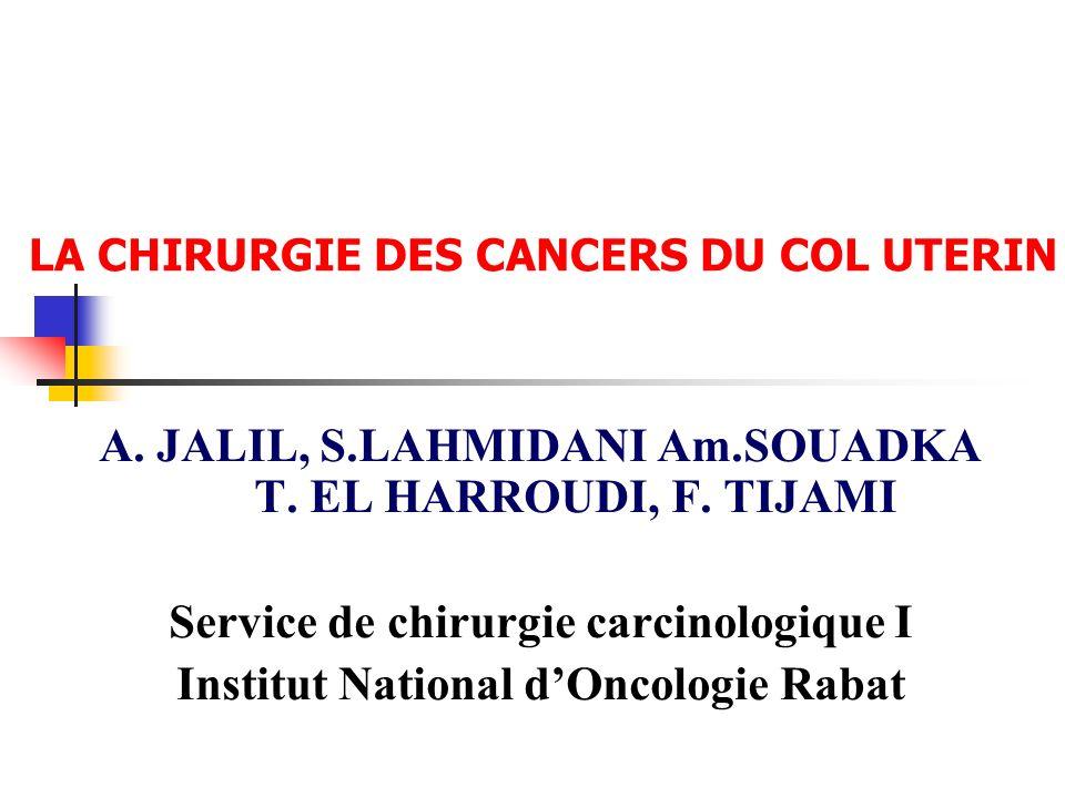 LA CHIRURGIE DES CANCERS DU COL UTERIN A. JALIL, S.LAHMIDANI Am.SOUADKA T. EL HARROUDI, F. TIJAMI Service de chirurgie carcinologique I Institut Natio