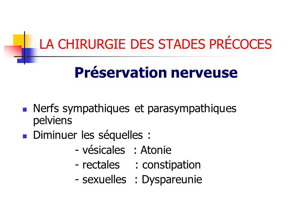 LA CHIRURGIE DES STADES PRÉCOCES Préservation nerveuse Nerfs sympathiques et parasympathiques pelviens Diminuer les séquelles : - vésicales : Atonie -