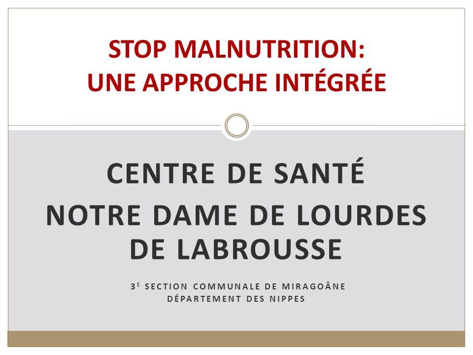 CENTRE DE SANTÉ NOTRE DAME DE LOURDES DE LABROUSSE 3 E SECTION COMMUNALE DE MIRAGOÂNE DÉPARTEMENT DES NIPPES STOP MALNUTRITION: UNE APPROCHE INTÉGRÉE