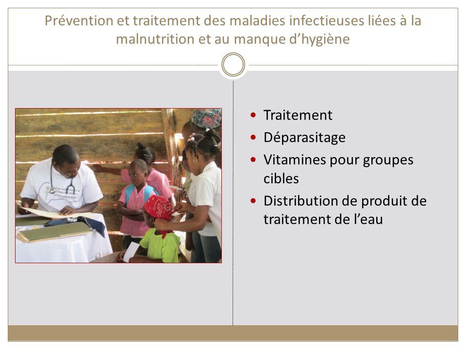 Prévention et traitement des maladies infectieuses liées à la malnutrition et au manque dhygiène Traitement Déparasitage Vitamines pour groupes cibles