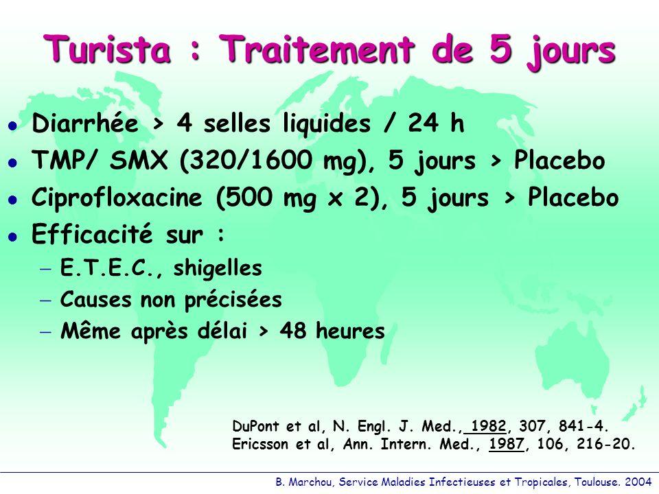 B. Marchou, Service Maladies Infectieuses et Tropicales, Toulouse. 2004 Turista : Traitement de 5 jours Diarrhée > 4 selles liquides / 24 h TMP/ SMX (
