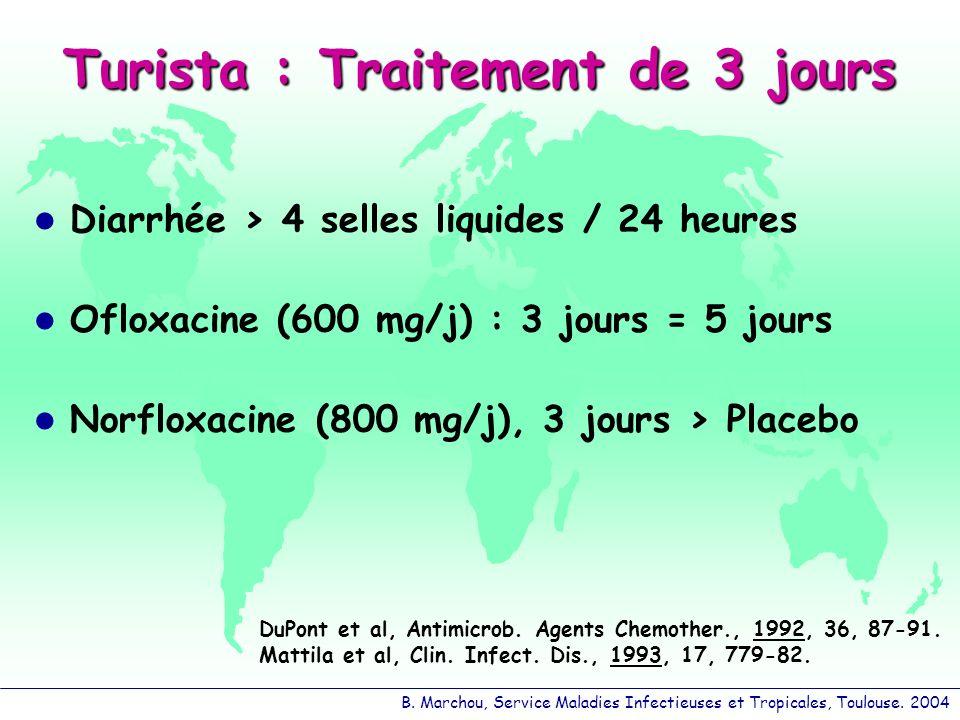 B. Marchou, Service Maladies Infectieuses et Tropicales, Toulouse. 2004 Turista : Traitement de 3 jours Diarrhée > 4 selles liquides / 24 heures Oflox