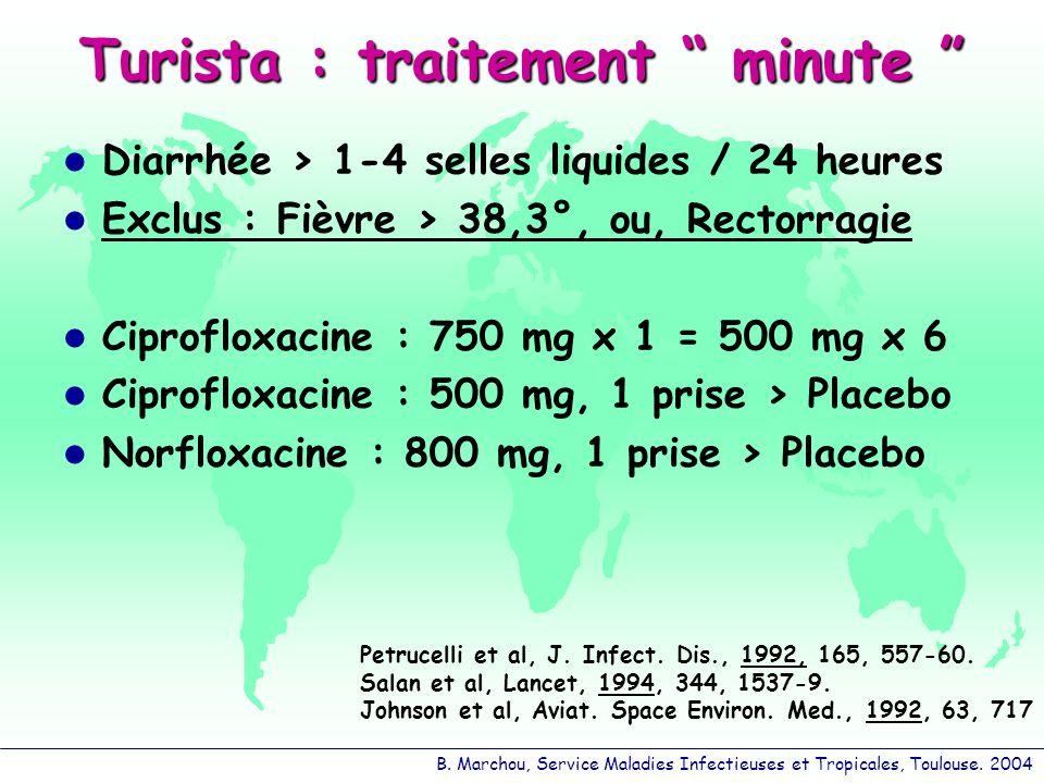 B. Marchou, Service Maladies Infectieuses et Tropicales, Toulouse. 2004 Turista : traitement minute Turista : traitement minute Diarrhée > 1-4 selles