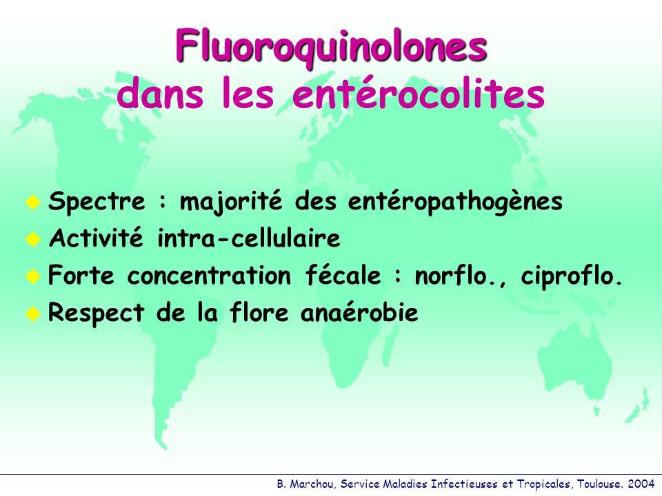 B. Marchou, Service Maladies Infectieuses et Tropicales, Toulouse. 2004 Fluoroquinolones Fluoroquinolones dans les entérocolites Spectre : majorité de