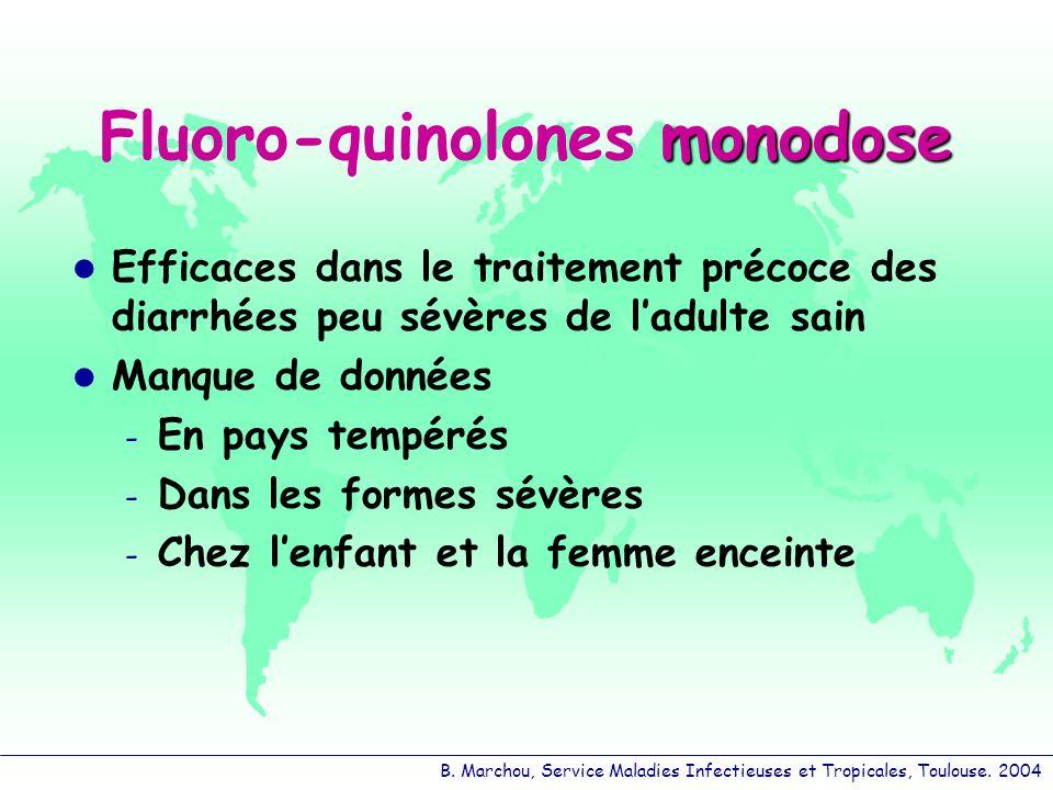 B. Marchou, Service Maladies Infectieuses et Tropicales, Toulouse. 2004 monodose Fluoro-quinolones monodose Efficaces dans le traitement précoce des d