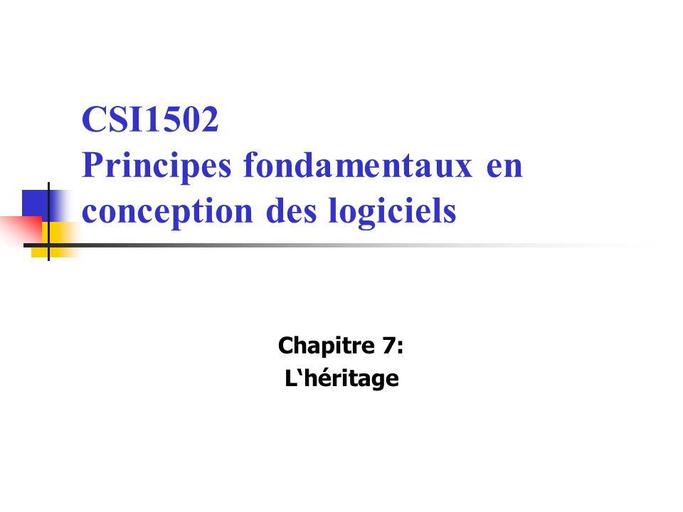 CSI1502 Principes fondamentaux en conception des logiciels Chapitre 7: Lhéritage