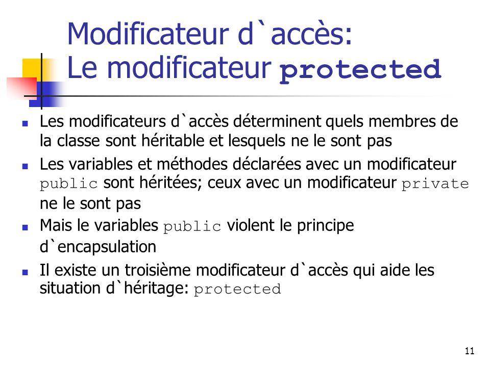 11 Modificateur d`accès: Le modificateur protected Les modificateurs d`accès déterminent quels membres de la classe sont héritable et lesquels ne le s