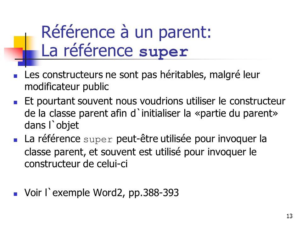 13 Référence à un parent: La référence super Les constructeurs ne sont pas héritables, malgré leur modificateur public Et pourtant souvent nous voudri
