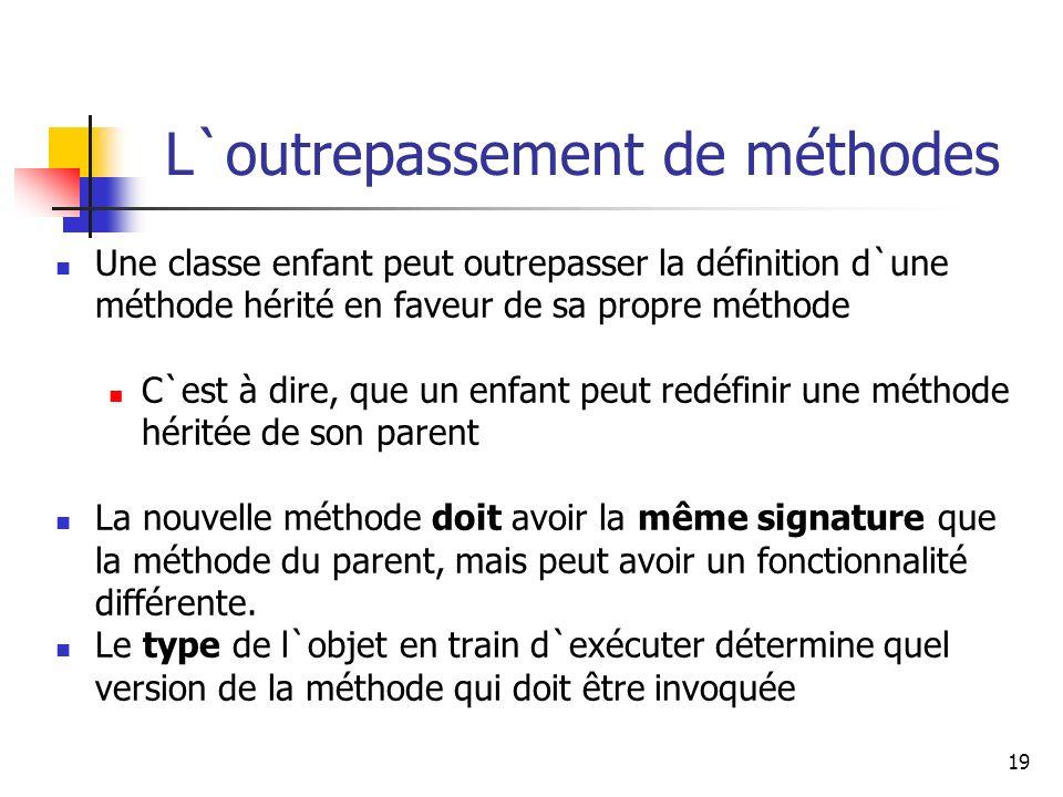 19 L`outrepassement de méthodes Une classe enfant peut outrepasser la définition d`une méthode hérité en faveur de sa propre méthode C`est à dire, que