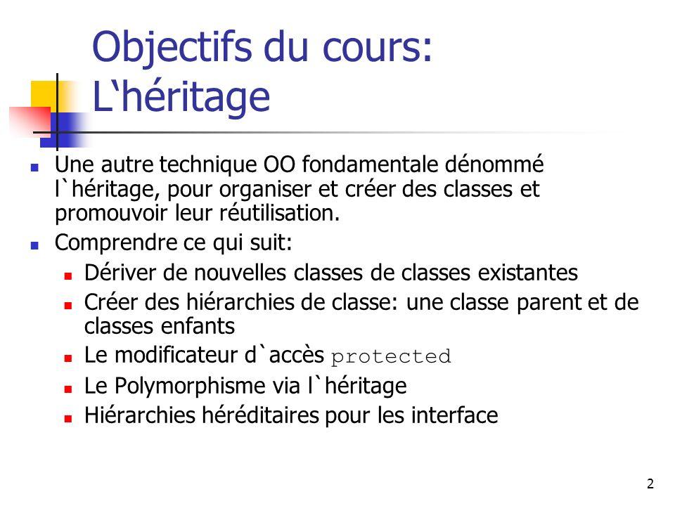 2 Objectifs du cours: Lhéritage Une autre technique OO fondamentale dénommé l`héritage, pour organiser et créer des classes et promouvoir leur réutili
