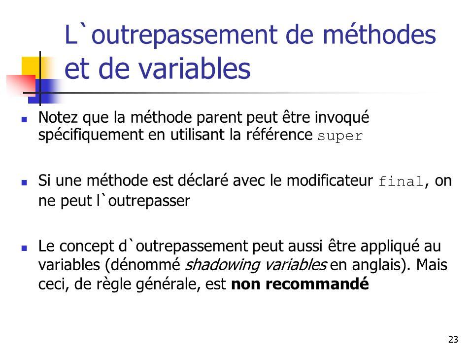 23 L`outrepassement de méthodes et de variables Notez que la méthode parent peut être invoqué spécifiquement en utilisant la référence super Si une mé