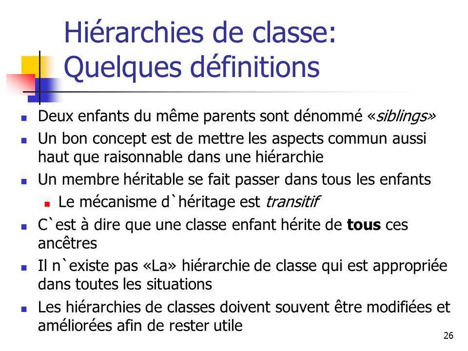 26 Hiérarchies de classe: Quelques définitions Deux enfants du même parents sont dénommé «siblings» Un bon concept est de mettre les aspects commun au